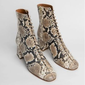 NWT BY FAR Becca Lace Up Boots Snake Print